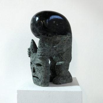Troglodyte with Minotaurmask   Dolorite   50 x 30 x 20 cm 2014