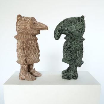 Left: Mercutio   Sandstone   35x17x13cm   2014     Right: Tapiso   Dolorite   35x17x13cm   2014
