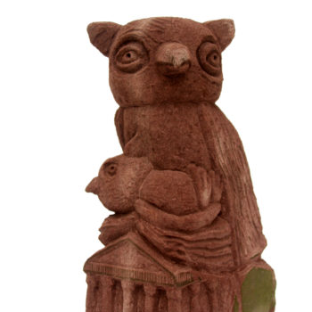 Owl carrys little owl to Athens   48x32x18cm   Sandstone   2007